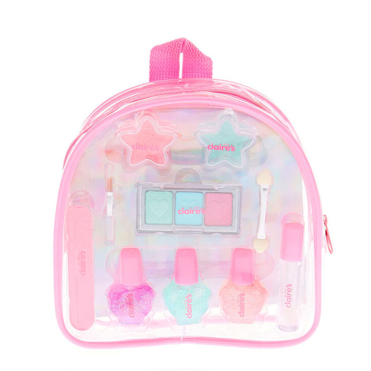 Claire S Club Pastel Glitter Backpack Makeup Set Claire S